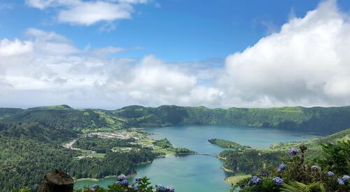 Vulkaankrater in de Azoren